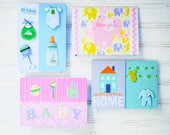 BABY Greeting Card Set - 4 Unique Handmade Baby Cards / 2 Baby Boy Cards / 2 Baby Girl Cards / One-of-a-Kind Cards / Blank Cards / Gift Set