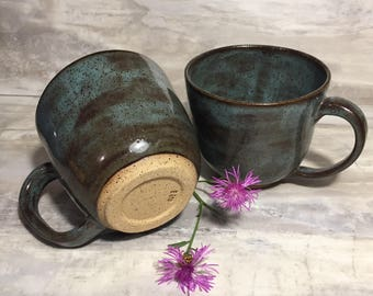 His/Her Coffee Cup Set in Teal and Chocolate