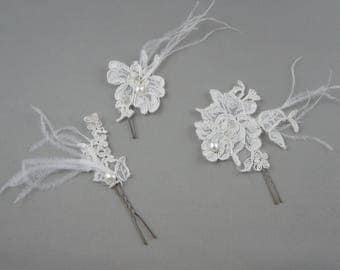 Ivory bridal lace hair. Ecru lace