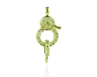 14YC120 - 14K Yellow gold diamond Lobster clasp - Small
