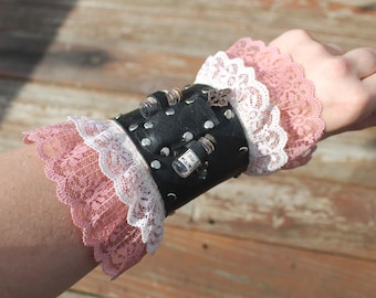 Steampunk Arm Bracer with Pink Lace and Potion Vials