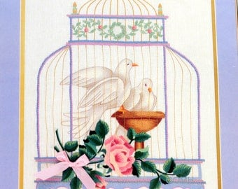 Elsa Williams THE GILDED CAGE Doves Birds Crewel Kit Michael A LeClair Gold Thread