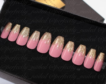 Mauve pink and holo gold glitter tips • Handpainted False Nails • Fake Nails • Press on Nails • Stick on Nails