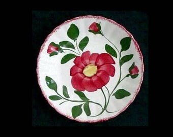 "Blue Ridge 8"" Bowl RED NOCTURNE for Soup Cereal Pasta Salad Colonial Dinnerware Hand Painted Red Flowers Bargain Beauty (B29) 6196"