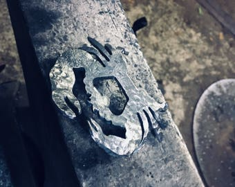 Hand forged crab bottle opener