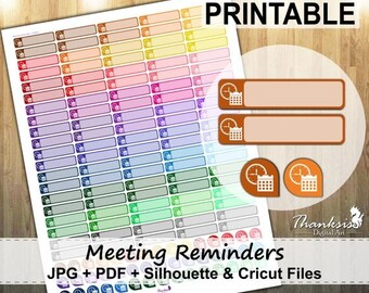 50% OFF SALE Meeting Reminders Printable Planner Stickers, Erin Condren Planner Stickers, Meeting Printable Stickers, Reminder - CUT Files