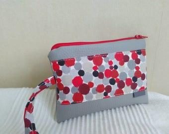 Cover camera light gray polka dot pattern red black and gray
