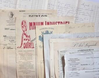Ephemera Papers Antique Ledger & invoices * French Papers Bundle