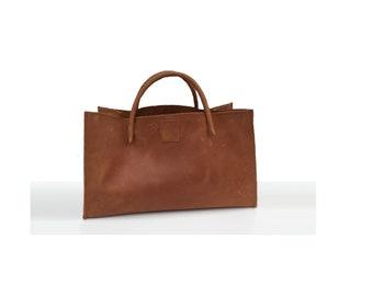 """Leather bag funny-easter egg bag shopping bag small """"transporter"""" vintage design handmade"""