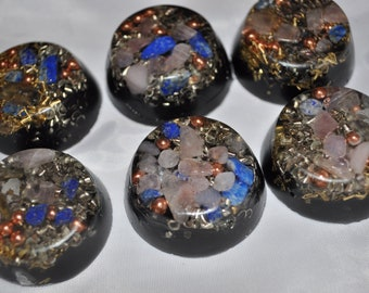 set of 6 multicolored crystal orgone energy mini tbs for emf protection home decoration traveling headache relief improved sleep collectible