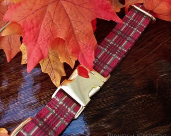 Autumn Plaid Dog Collar