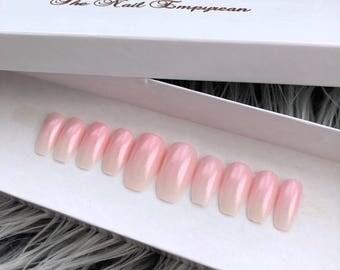 Press on nails ~ French ombre nails ~ Fake nails ~ False nails ~ Ombre nails ~ Ombre french nails ~ Shimmer nails ~ Wedding nails ~