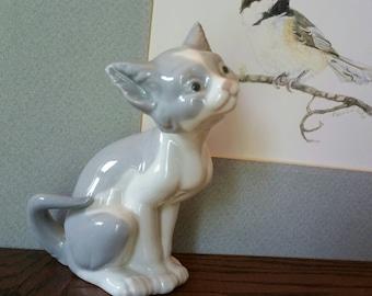 "Vintage Cute ""LLADRO"" Wishful Cat Porcelain figurine Hand Made in Spain"