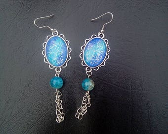 a pair of earrings original cabochon vintage style