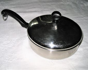 Farberware Frying Pan and Lid Aluminum Clad Stainless Steel Small Sauce Pan Heat Soup Vegetable Eggs Made In Bronx USA 1-2 Servings Pan