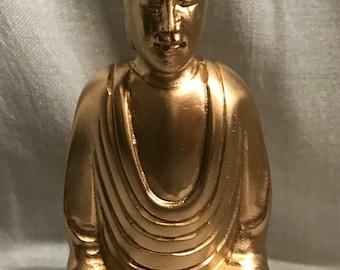 Wooden Gold Finish Siting Buddha