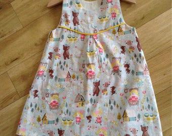 Goldilocks and the Three Bears dress, Goldilocks and the Three Bears Pinafore dress, cute Fairytale handmade dress