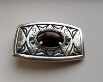 Polished Stone Silver Tone Belt Buckle