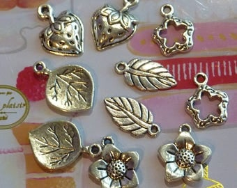 Strawberry flower set of 10 metal leaf nature charms