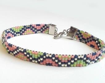 Minimalist bracelet silver and Miyuki beads