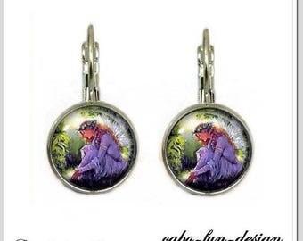 Earrings abochonschmuck cabochon 12 mm ELVEN garden romantic