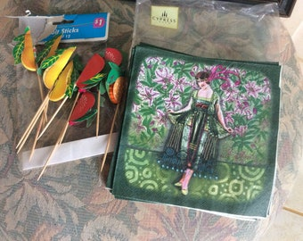 Vintage Paper Party Lot, Fruit Picks and Flapper Cypress Napkins, Partial Packages