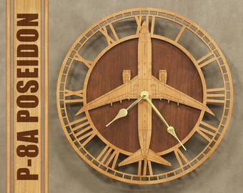 "P-8 A Poseidon 14"" Wooden Wall Clock, Aircraft Gift, Airplane Gift, Aviation Gift, Pilot Gift, Wood Clock, Navy Gift"