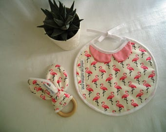 "Bib birth ""chic"" Duo and bunny ears, flamingos and Peter Pan collar pattern"