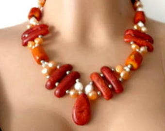 Coral Boho Necklace Jewelry