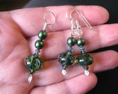 Another Word for Green - jewelry set - matching pendant and earrings - handmade lampwork glass - Swarovski crystal - sterling silver
