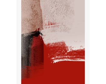 Abstract Art Print by Michael Hunter BA Hons. Red & Beige Colours. Giclée Prints. Modern Wall Prints. Art Gallery. Limited Edition Prints