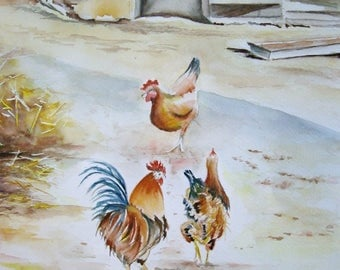 Original watercolor done by myself, signed Mary CELESTINE 27 x 35 cm, hens and Rooster on the farm