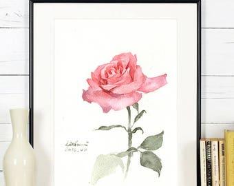 "Original flower watercolor,single rose,original painting,5""1x7"",garden,home decor"