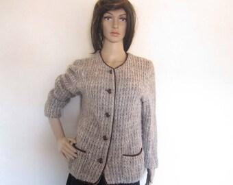 Vintage wool cardigan Knit jacket mohair wool s
