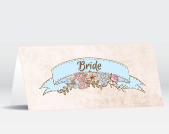 Wedding Place Cards | Vintage Floral Parchment Style | Country| Banner| Shabby Chic | Personalised | Made to Order