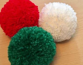 Christmas Pom Poms, 85mm Pom Poms, Red Wool Pom Pom, White Pom Pom, Green Pom Pom, Pom Pom Decorations, Handmade Pom Poms, Christmas Crafts