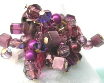Ring adjustable dark purple - stones, gems