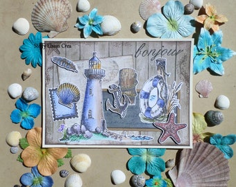 Card Hello sailor large Lighthouse shells