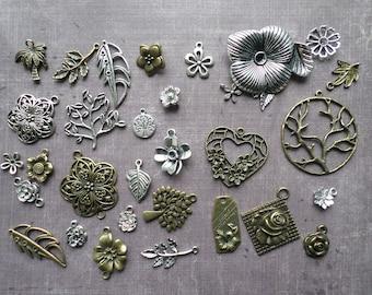 30 silver foil flower Tag still Bronze Metal charms