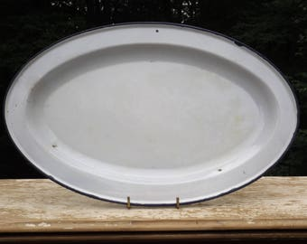 "White enamel oval tray black trim,enamel platter,15"" x 10"" serving tray,white enamelware,party tray,dinner tray,food platter,"