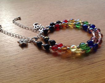 RAINBOW COLLECTION - threaded Czech glass spheres and silver plated beads