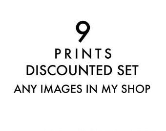 set of 9 fine art prints, any images in my shop printed, discounted set, 12x12 5x5, 11x14, photography prints, nursery wall art, your choice