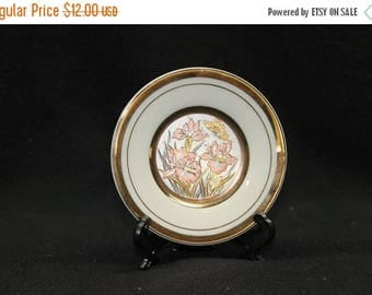 ON SALE Art of Chokin Floral Butterfly Plate 24K Gold