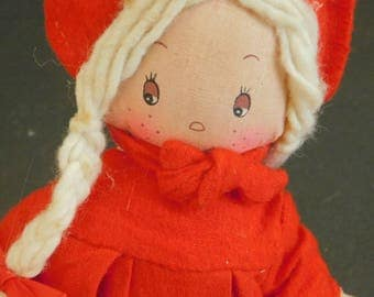 Handmade Vintage Christmas Dolly in Flannel Felt, Cloth Doll, Rag Doll, Holiday Decor, Gift Child, Little Red Riding Hood, Stocking Stuffer