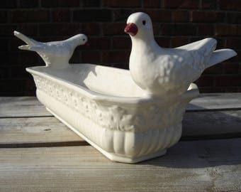 Jardinière céramique Bassano. Oiseaux. Vintage. Italie