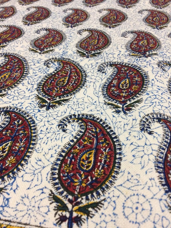 "Hand printed 78"" x 52""inches rectangle tablecloth , traditional block printed red paisley Tapestry or bedspread - natural dyes with tassels"