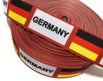 "1"" German Flag Ribbon, Germany Ribbon, Germany Grosgrain Ribbon"