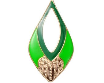 2 large Teardrop green 81 x 41mm gold charms