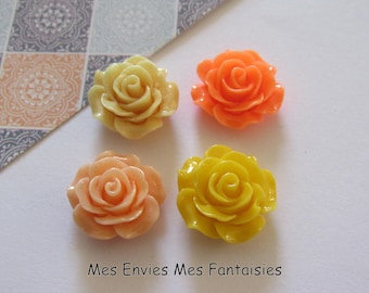 4 cabochons resin flowers 18-19mm base about 13mm yellow / Orange R6