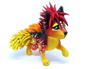 Fire Mandala Cat | Clay Sculpture